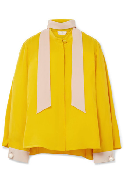 Fendi blouse pearl embellished silk yellow top