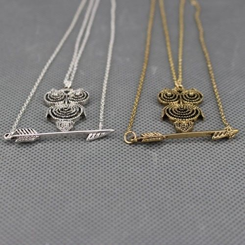 2014 shiny cute owl cute arrow chain pendant necklace