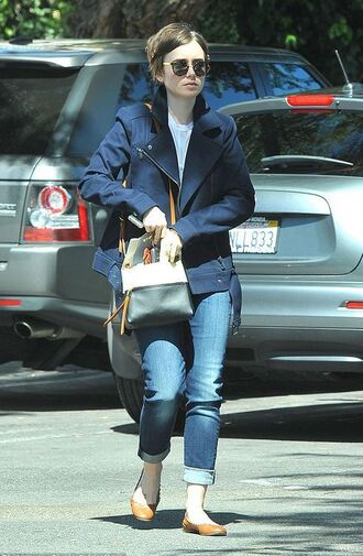 jacket jeans lily collins ballet flats purse bag