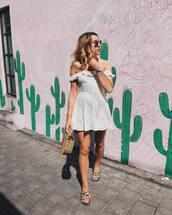 dress,white dress,short dress,mini dress,bag,shoes,off the shoulder,off the shoulder dress,cult gaia bag,sunglasses