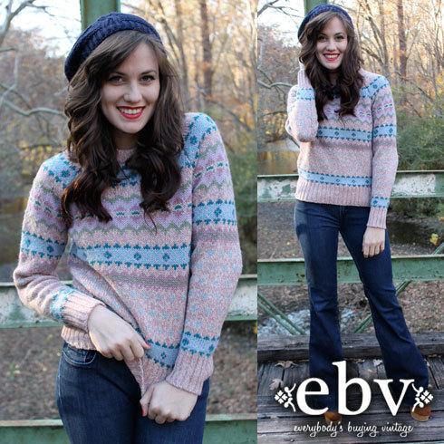 Wool Sweater Vintage Sweater Fair Isle Sweater Nordic by shopEBV