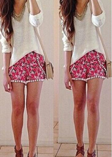 Floral Print Pom Pom Shorts   modlily.com