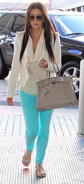 jacket cream blazer kim kardashian skinny jeans spring outfits pretty bright off-white