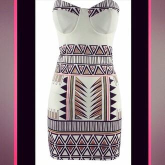 dress lost souls aztec dress aztec sexy dress boobtube bodycon dress cute dress patterened dress print print dress stunning dress love
