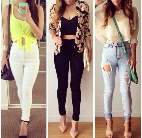 shoes classy high heels jeans vest
