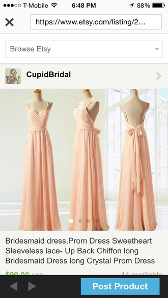 dress peach dress open back prom dress open back dresses spaghetti straps dress maxi dress prom dress