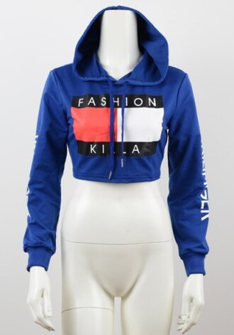sweater blue hoodie fashion sporty long sleeves cool rosegal-dec