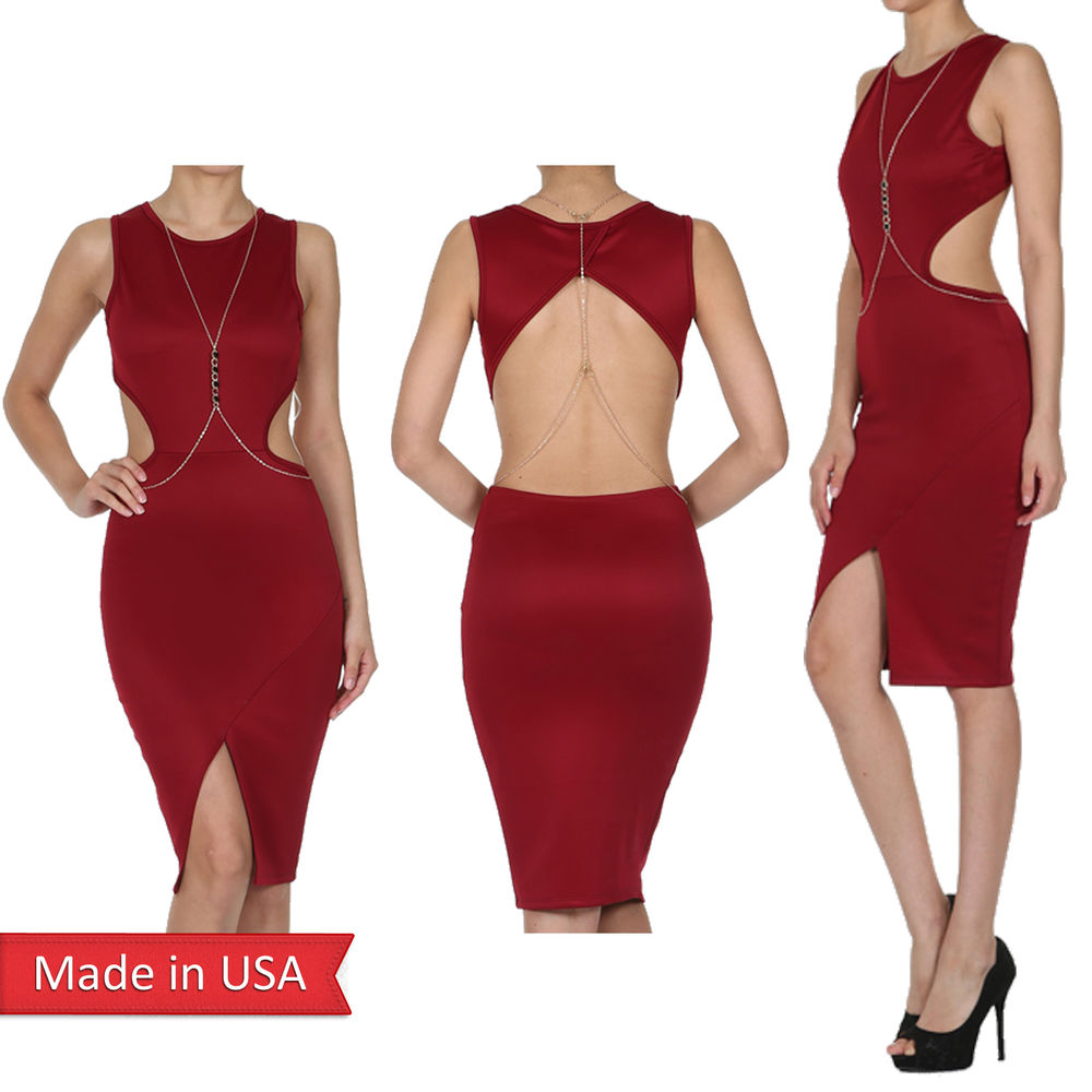 Solid color ruby round neck sleeveless knee length dress w/ cutouts usa size l
