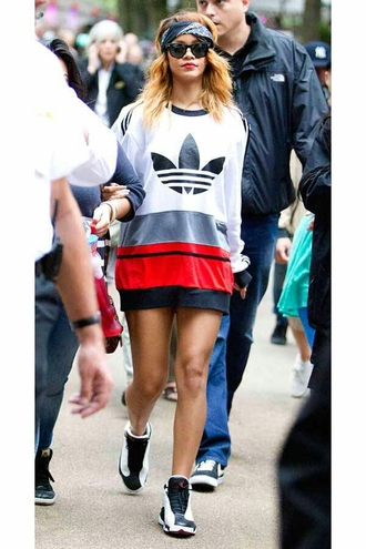 sweater adidas rihanna celeberties celeberity dress tomboy chicks in kicks kicks with chicks seenfromtaris shoes jacket