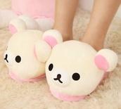 shoes,kawaii,cute,rilakkuma,home accessory,animal,stuffed,stuffed animal
