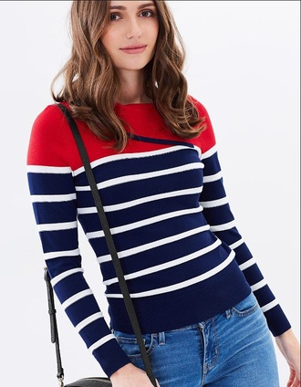 sweater red blue knitwear winter sweater