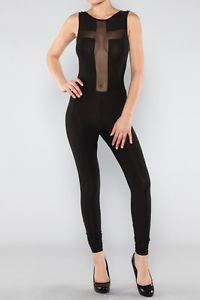 Sexy Black Cross Sheer Mesh Inset Open Back Catsuit Bodysuit Skinny Legging | eBay