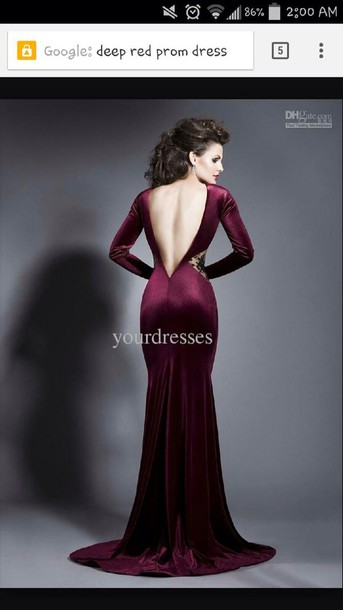 dress red prom dress open back prom dress