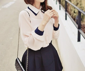 blouse white blue collar sleeves skirt button up blouse