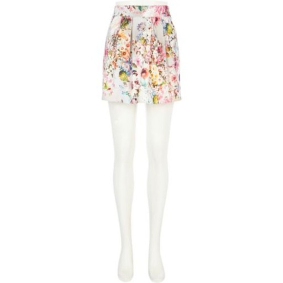 skirt mini skirt grey floral print structured mini skirt floral structured skirt grey