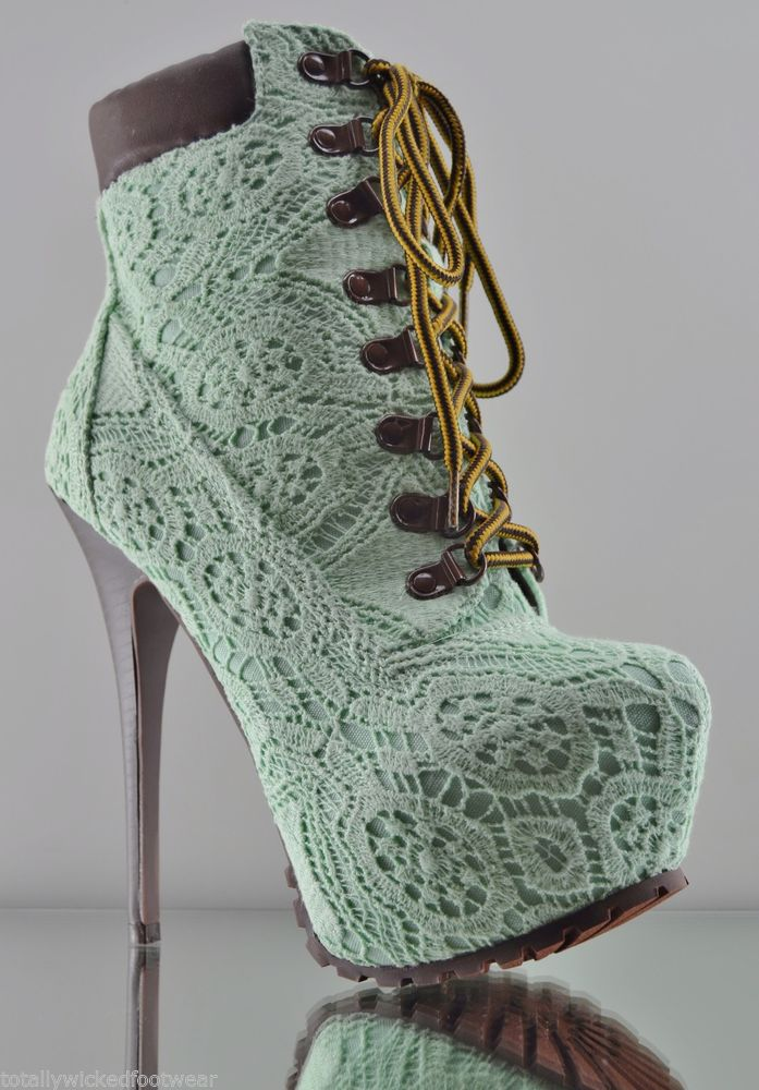 ALBA Jennifer 5 Mint Green Lace Over Lay Platform High Heel Ankle Boots 7 - 11