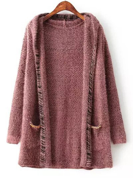 Claret red rivet embellish pockets hooded angora knit cardigan