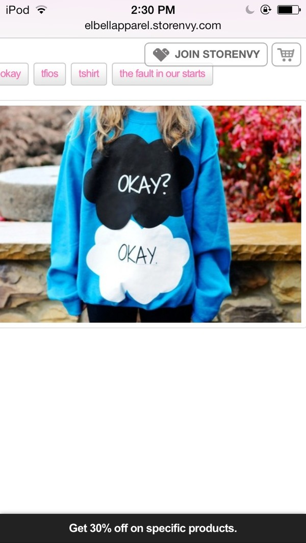 sweater the fault in our stars blue sweater okay okay hazel grace augustus waters medium