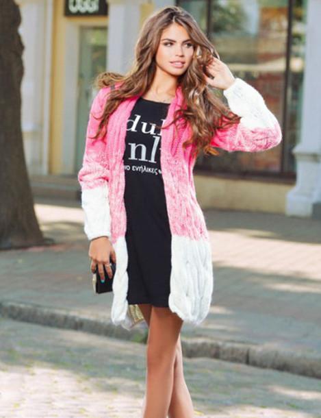 jacket warm cute pink purple white fall outfits zefinka cardigan coat 36683 comfy knitwear knitted sweater knitted cardigan ombre ombre sweater women fall outfits fall sweater outfit outfit idea tumblr outfit winter outfits cable knit cardigan cable knit