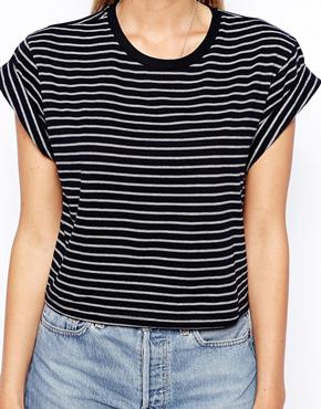 ASOS | ASOS Cropped Boyfriend T-Shirt with Roll Sleeve in Stripe at ASOS