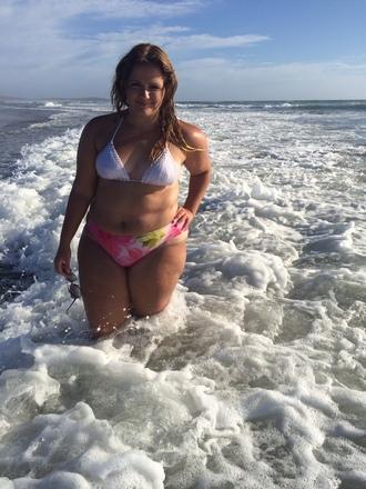 swimwear floral swimwear pink swimwear high waisted bikini white bikini bikini bottoms curvy