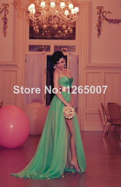 Aliexpress.com : Buy New Sweetheart See Through Waist High Slit Side A Line Chiffon Evening Dresses New Fashion Formal Dresses from Reliable dress party dress suppliers on SFBridal