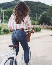 shirt,bike,tumblr,stripes,striped shirt,jeans,denim,blue jeans,cropped jeans,mom jeans,blouse,relaxed blouse,casual,red and white,red pinstripe,white pinstripe,levi's,loose,classy,white blouse