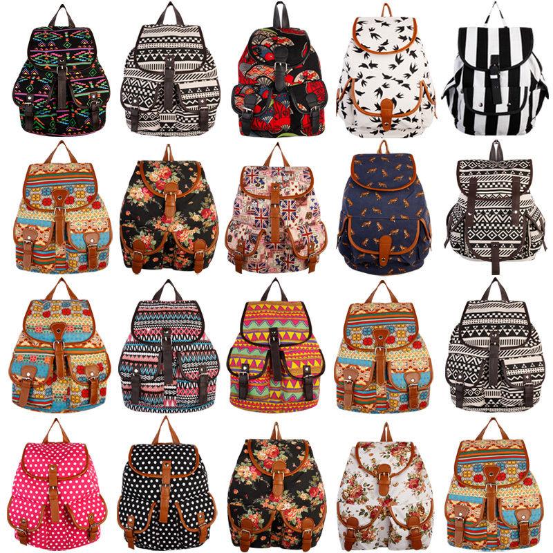 Fashion women girl vintage cute flower floral bag bookbag backpack schoolbag new