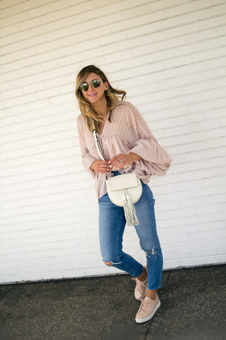 cella jane blogger blouse jeans shoes bag sunglasses