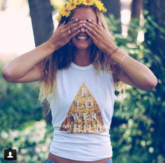 shirt flowers tribal pattern sunflower su flower crown flower headband flower child yellow yellow top spring outfits spring crop tops