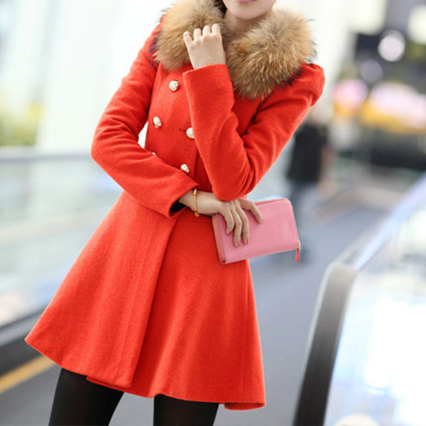 coat elegant solid color flocky fur