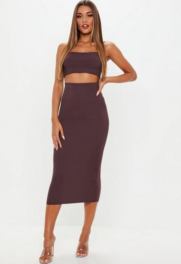 Missguided - Petite Plum Ribbed Midi Skirt And Top Co Ord Set