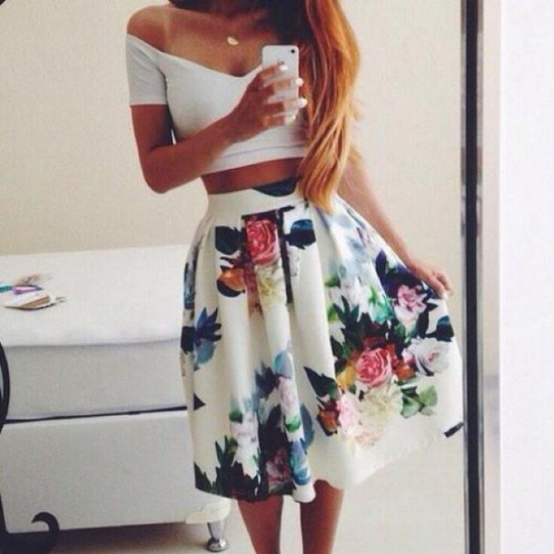 skirt bag shirt floral skirt top white white skirt flower skirt summer pretty flowers girl high waisted flowers dress style t-shirt dress white top blouse blue yellow pink wehearit nice floral