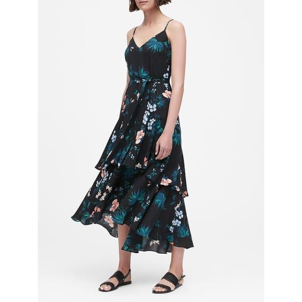 Banana Republic Women's Floral Ruffled Maxi Dress Black Tropical Floral Big And Tall Size 10