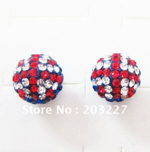 100% 925 Sterling Silver 10MM Crystal Pave Disco Ball union jack Stud Earrings Shamballa Jewelry  Gift Pouch yst93-in Stud Earrings from Jewelry on Aliexpress.com