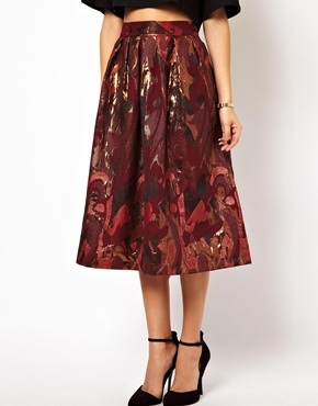 ASOS Full Midi Skirt in Camo Jacquard Print at ASOS
