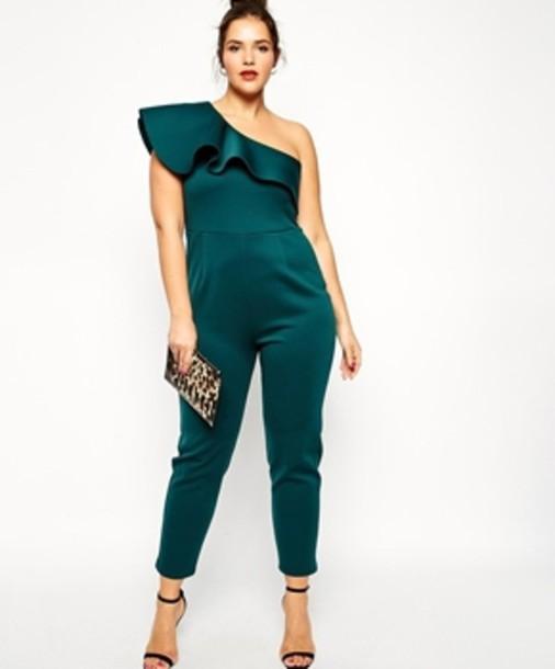 jumpsuit teal green jumpsuit jumper classy elegant cold shoulder blouse cold shoulder