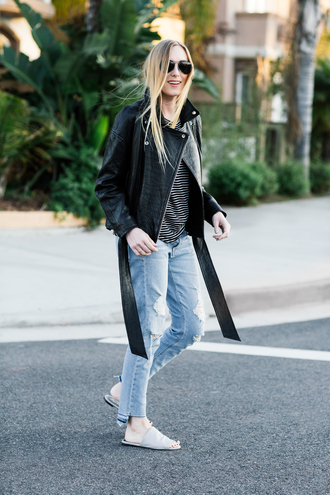 eat sleep wear blogger jacket top jeans shoes black leather jacket slide shoes spring outfits striped top