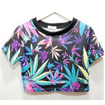 Weed print crop top