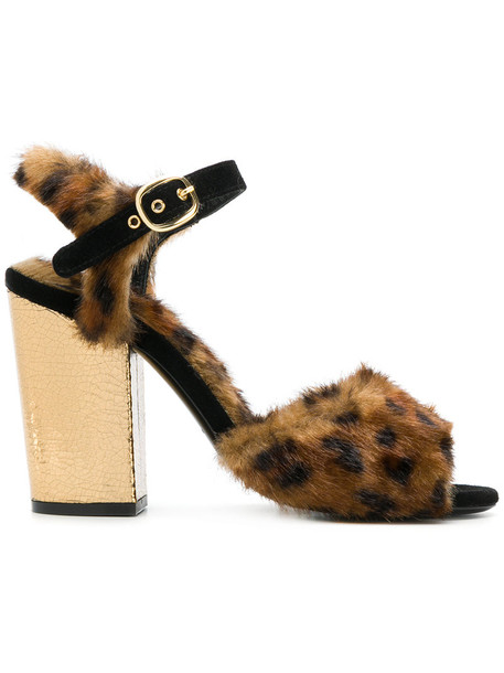 Fausto Zenga fur women sandals leather print brown leopard print shoes