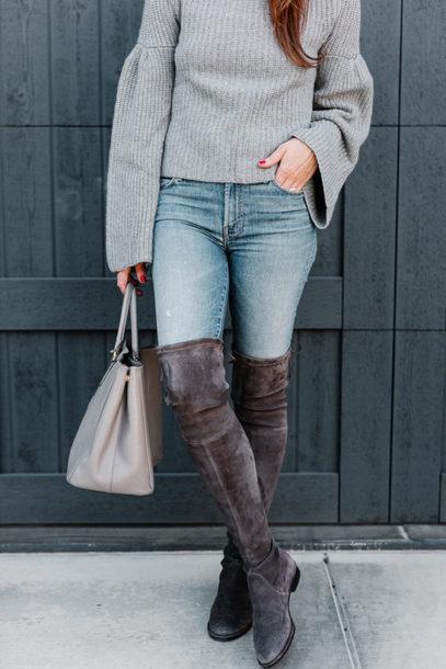 dallas wardrobe // fashion & lifestyle blog // dallas - fashion & lifestyle blog blogger sweater jeans bag shoes sunglasses grey sweater grey bag handbag boots over the knee boots winter outfits