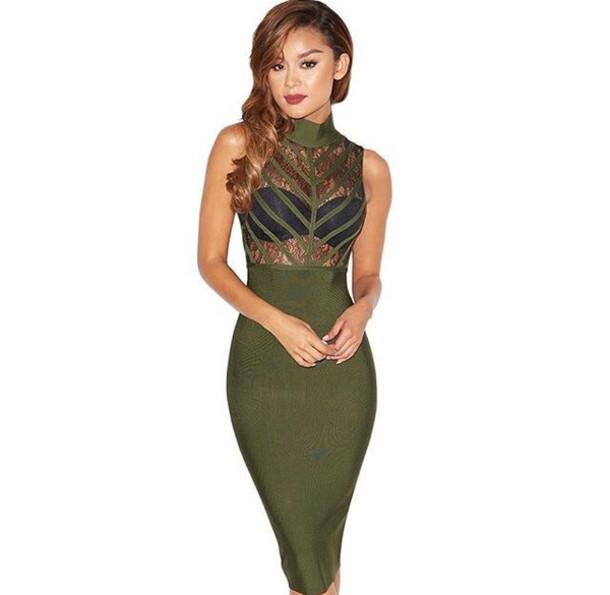 b0cb9f9eb595 dress bandage dress green khaki party dress bandage sexy cute midi midi  dress prom dress halter