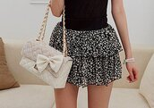 ruffle skirt,white and black skirt,skirt,bag