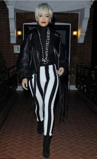 pants stripes striped pants rita ora