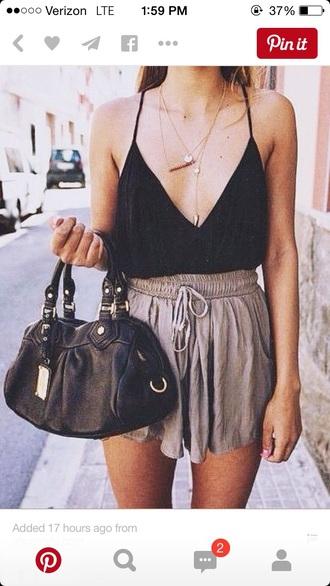 top black top blouse spahgetti straps shorts bag purse handbag jewels halter top