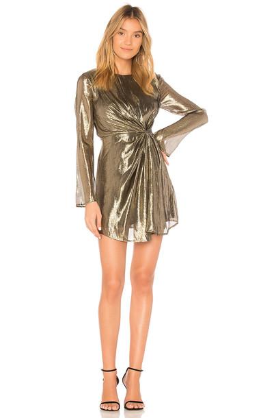 LoveShackFancy dress metallic gold