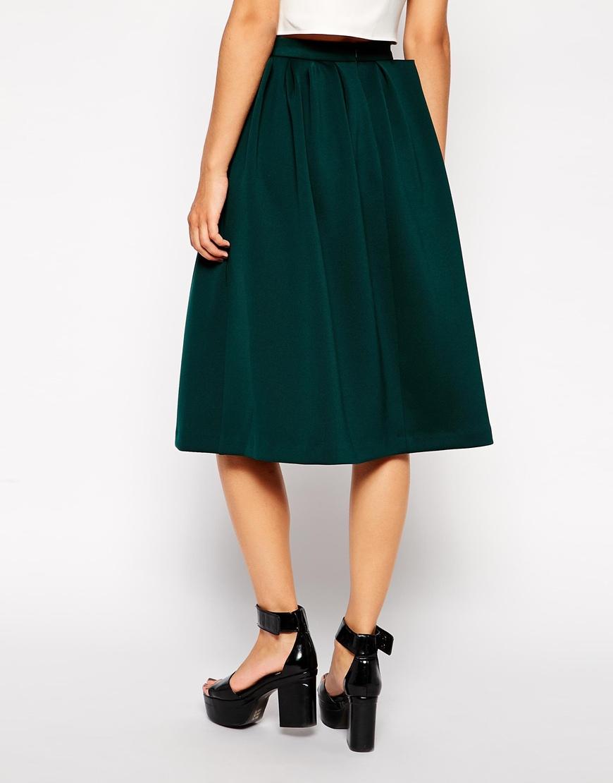 ASOS Pleated Waist Midi Skirt at asos.com