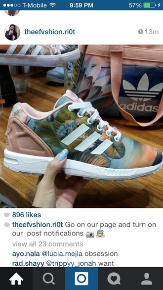 shoes adidas sneakers pattern peach nude cream adidas shoes print adidas print tropical zx flux floral tan floral adidas zx flux purse