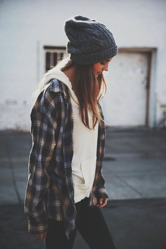 shirt hipster winter outfits winter sweater flannel beanie hat cute teenagers girl sweater