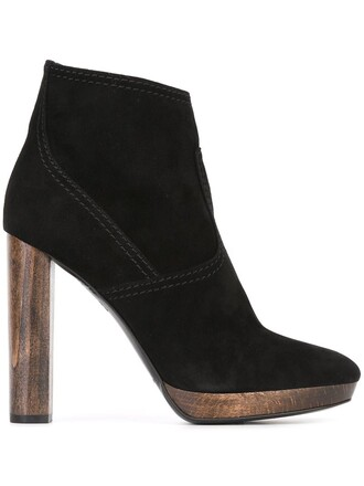 heel high heel high women boots ankle boots leather suede black shoes
